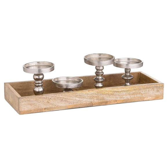 Hardwood Display Tray With Four Candle Holders | L J Home