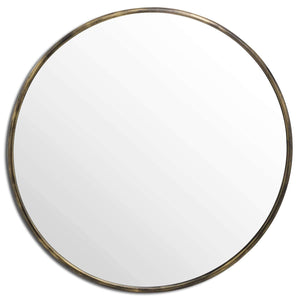 Antique Brass Large Narrow Edged Mirror | L J Home