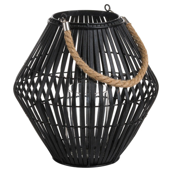Black Rattan Small Convex Lantern | L J Home