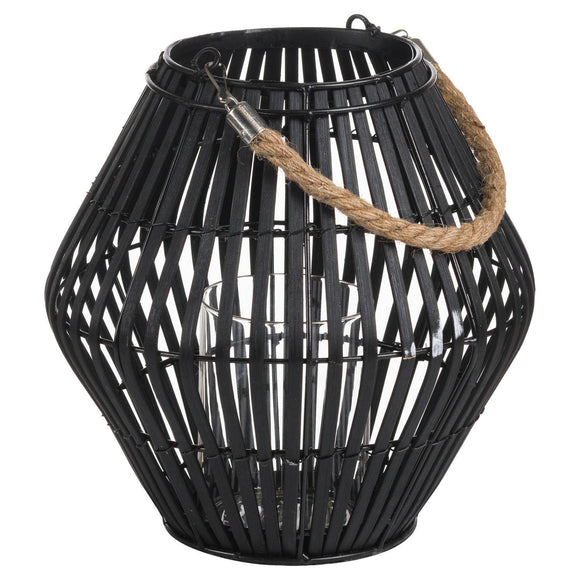 Black Rattan Large Convex Lantern | L J Home