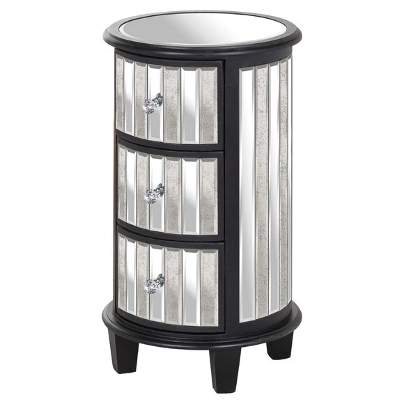 Soho Black Collection Circular 3 Drawer Unit