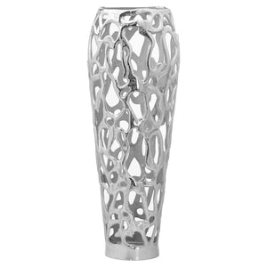 Ohlson Silver Large Perforated Coral Inspired Vase | L J Home