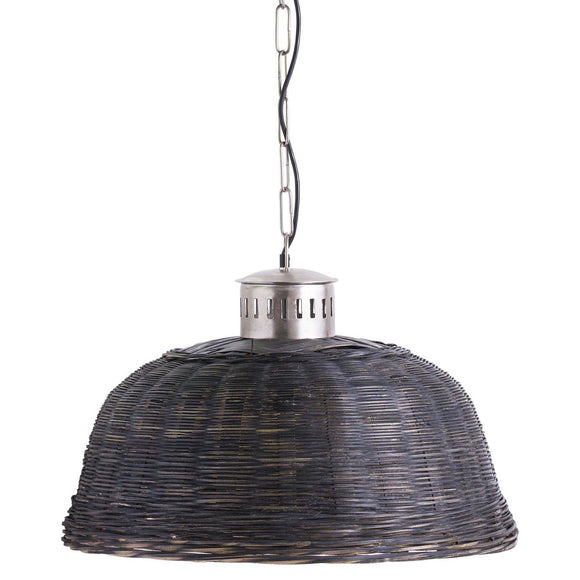 Large Black Orla Wicker Pendant Light