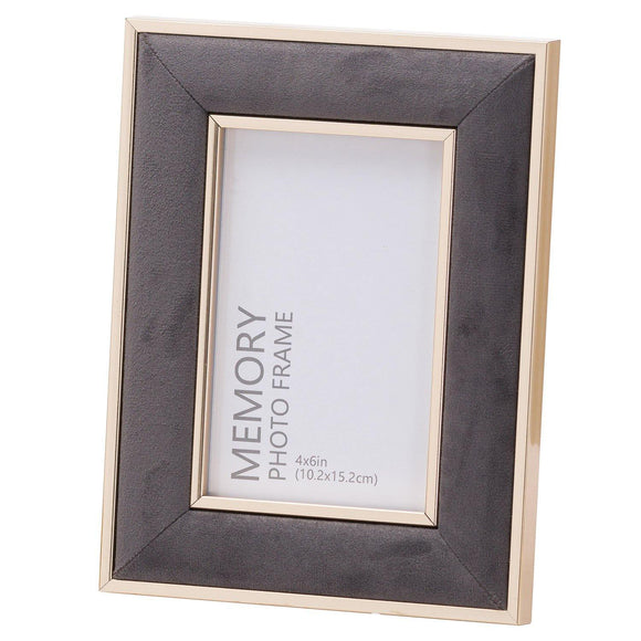 Grey Velvet With Gold 4X6 Frame