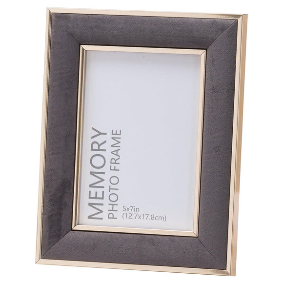 Grey Velvet With Gold 5X7 Frame