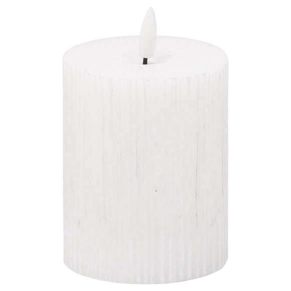 Luxe Collection Natural Glow 3 x 4 Textured Ribbed LED Candle | L J Home