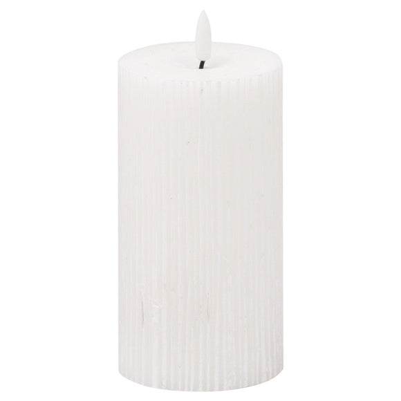 Luxe Collection Natural Glow 3x6 Textured Ribbed LED Candle