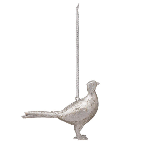 Hanging Silver Pheasant Decoration | L J Home
