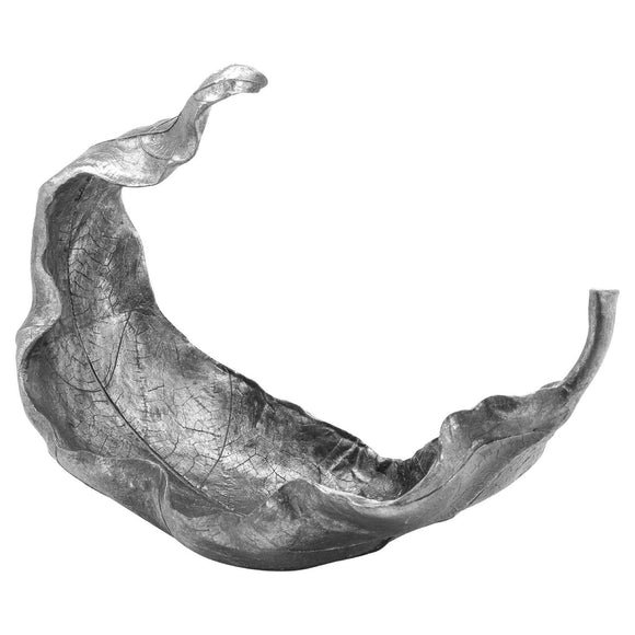 Large Silver Curled Leaf Sculpture | L J Home
