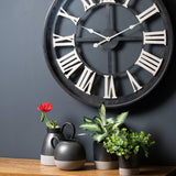 Black Framed Skeleton Clock With White Roman Numerals | L J Home