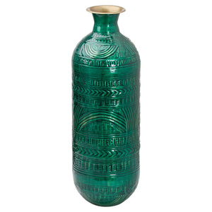 Aztec Collection Brass Embossed Ceramic Dipped Lebes Vase | L J Home