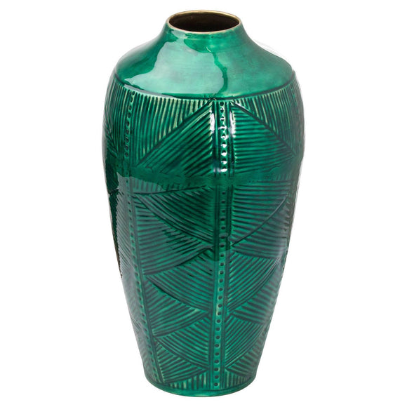 Aztec Collection Brass embossed Ceramic Dipped Urn Vase | L J Home