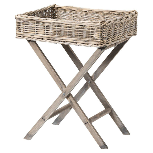 Grey Wash Wicker Basket Butler Tray