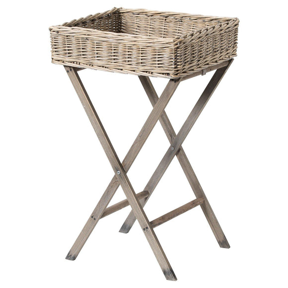 Large Grey Wash Wicker Basket Butler Tray
