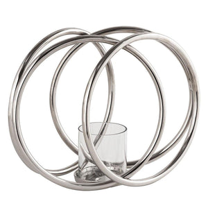 Four Ring Silver Pillar Candle Holder | L J Home