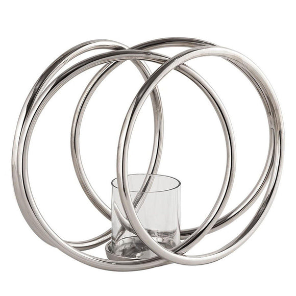 Four Ring Silver Pillar Candle Holder