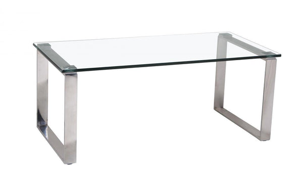 Carter Glass Coffee Table with Stainless Steel Legs | L J Home