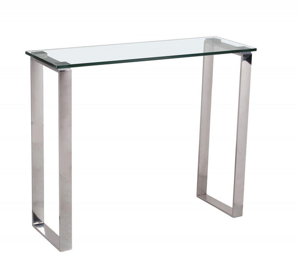 Carter Glass Console Table & Stainless Steel Legs | L J Home
