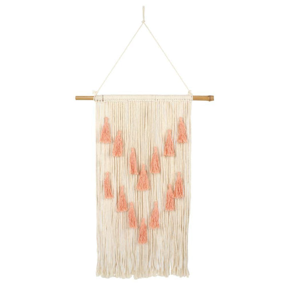 Coral Macrame Wall Hanging with Tassels