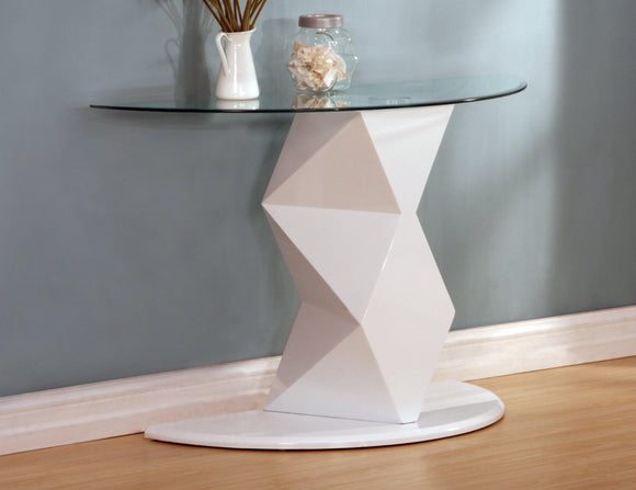 Rowley White High Gloss Console Table | L J Home