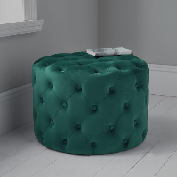 Dark Green Tufted Velvet Pouffe | L J Home