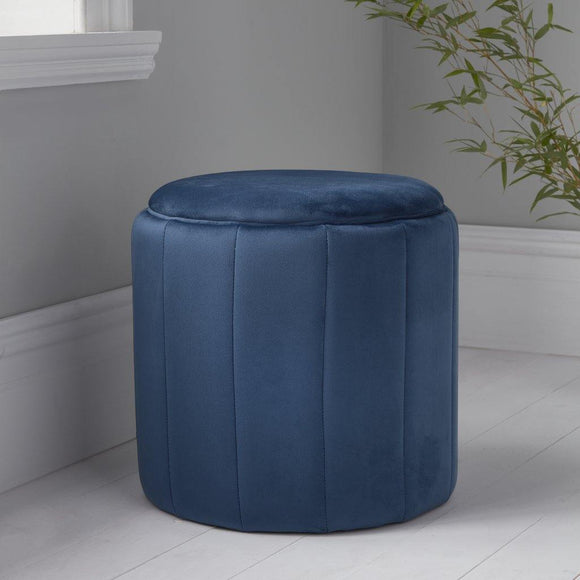 Round Mystique Blue Plush Stool | L J Home