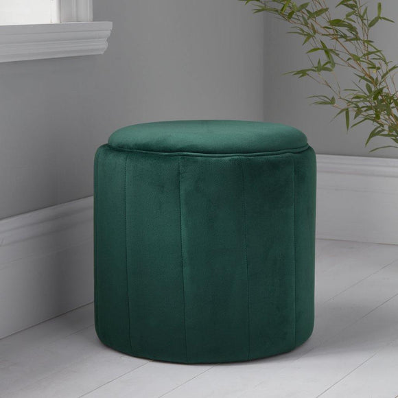 Round Deep Green Plush Stool | L J Home