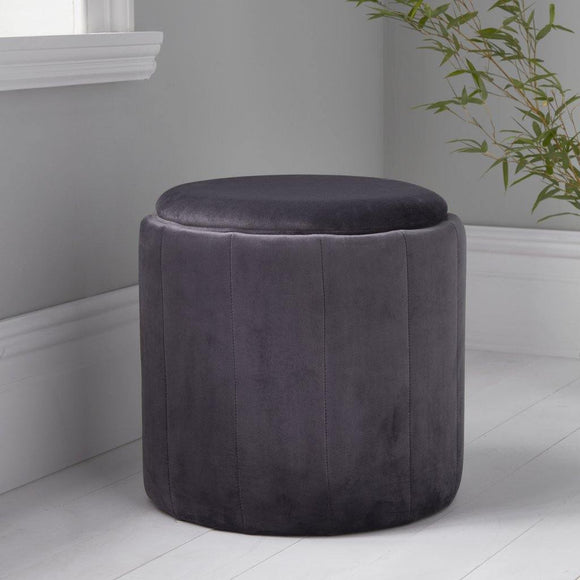 Round Grey Plush Stool | L J Home