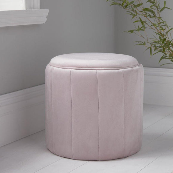 Round Pastel Pink Plush Stool | L J Home