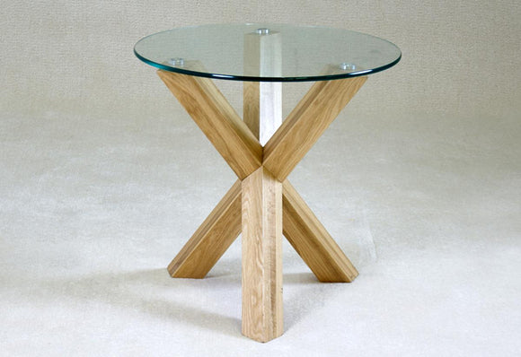 Saturn Solid Oak Lamp Table with Glass Top