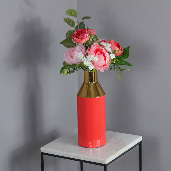 Gold Stem Living Coral Vase
