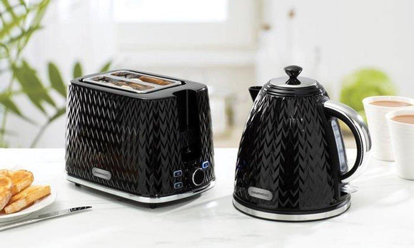 Daewoo Argyle Modern Cordless Black Kettle & 2 Slice Toaster Set | L J Home