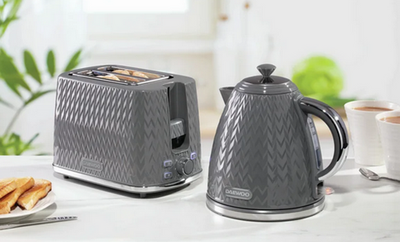 Daewoo Argyle Grey 1.7Lt Kettle 2 Slice Toaster Combo Set | L J Home