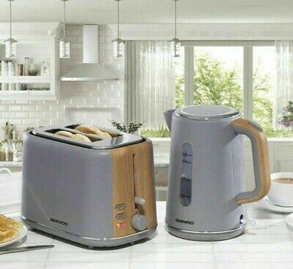 Daewoo Stockholm 2 Slice Toaster & Cordless Kettle Set Matte Grey & Wood | L J Home