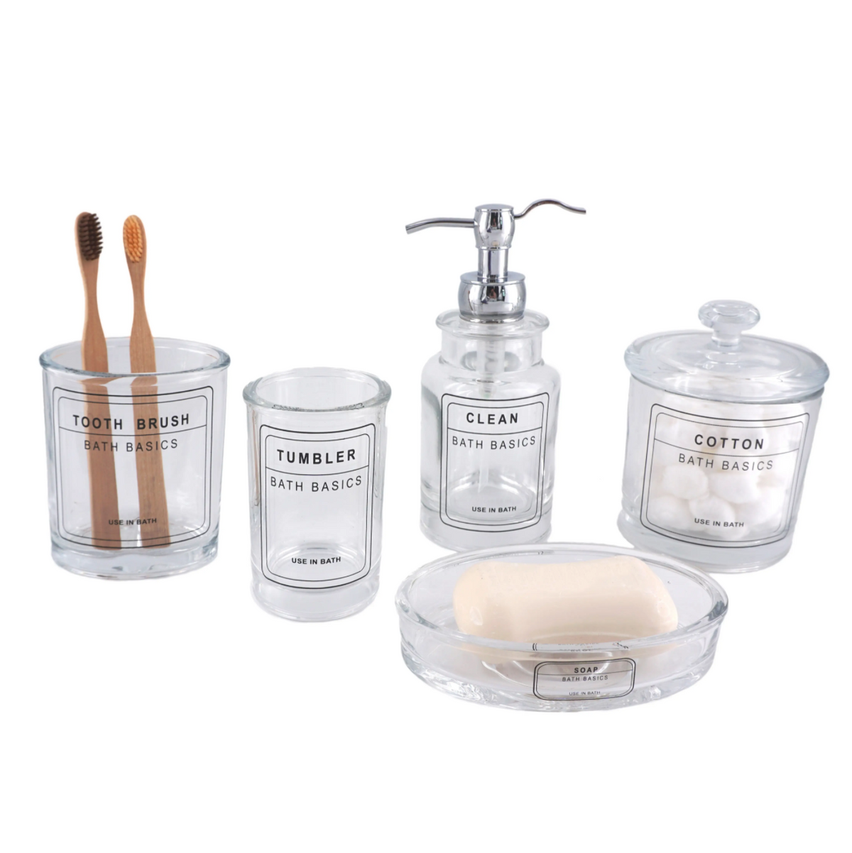 Bathroom Suite Accessory Set - Traditional Glass