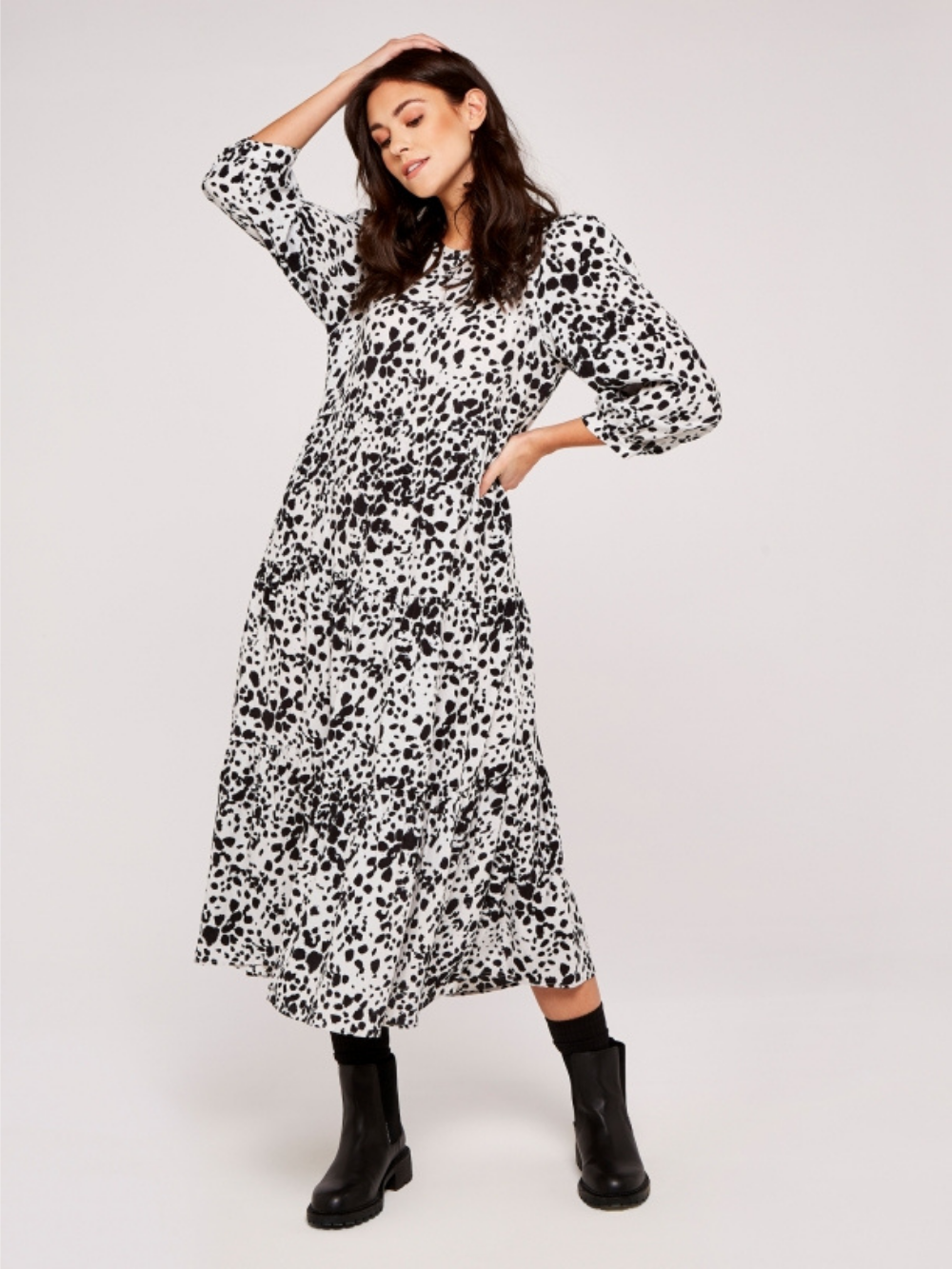 Spotted Tiered Midi Dress