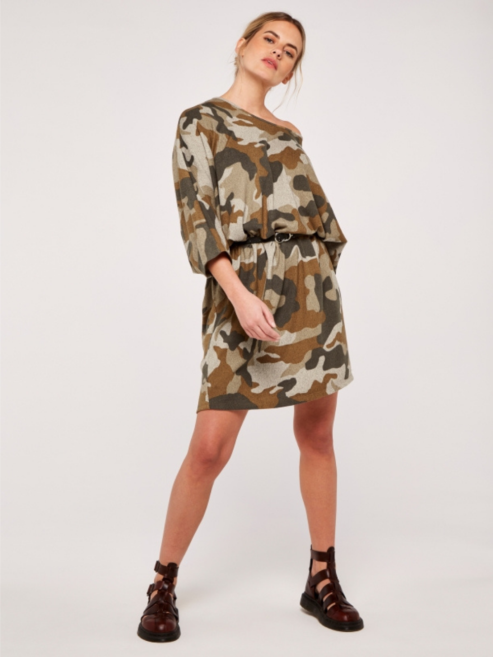 Stone Camouflage Sweater Dress