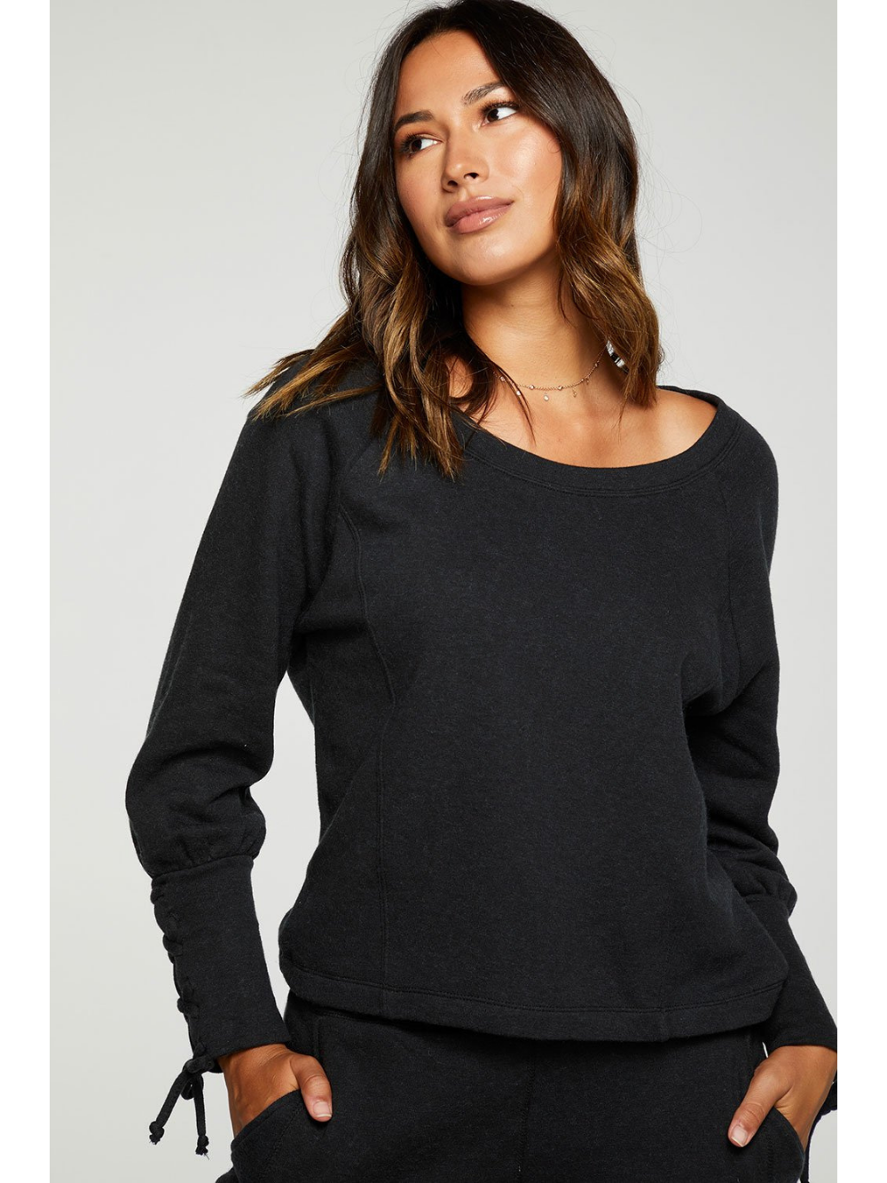 Cashmere Fleece Lace Up Sleeve Pullover