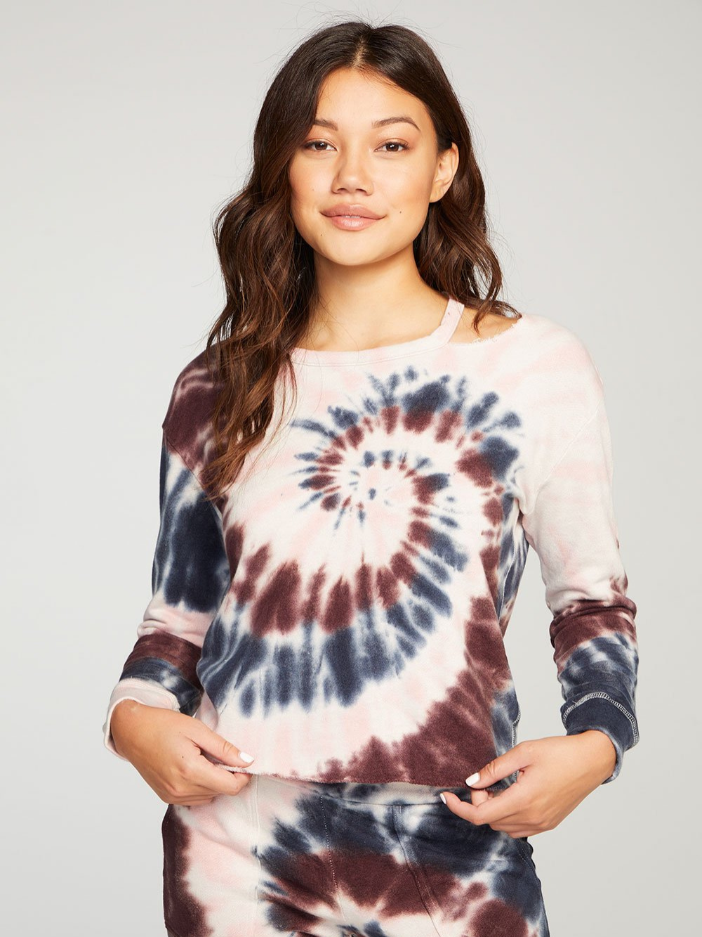 Linen French Terry Deconstructed Tie Dye Pullover