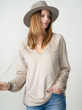 Load image into Gallery viewer, Boho Luxe Suede V-Neck Blouse