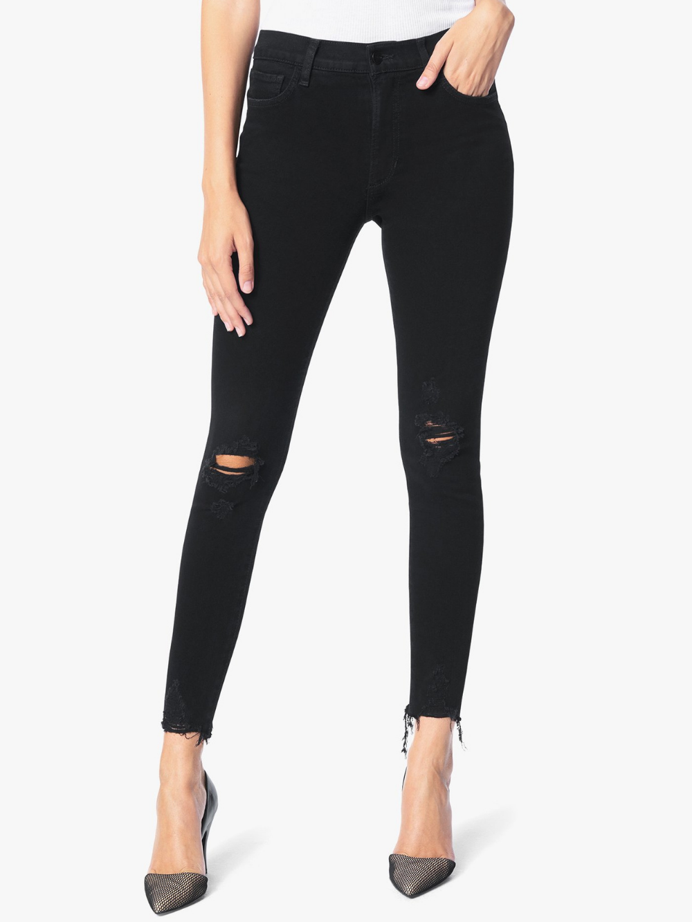 Charlie High Rise Skinny Ankle - Obsidian