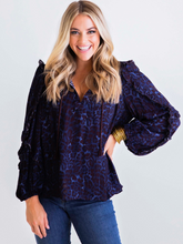 Load image into Gallery viewer, Tie Front Leopard Boho Blouse