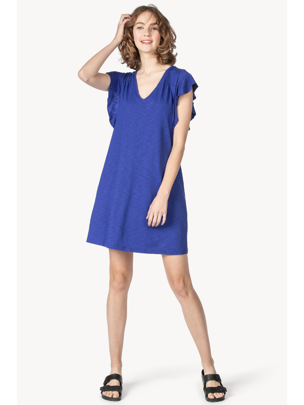 Ruffle Sleeve V-Neck Dress