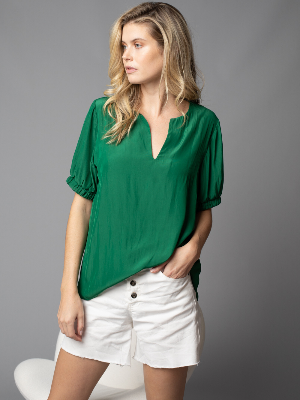 Elastic Cuff Sleeve Top