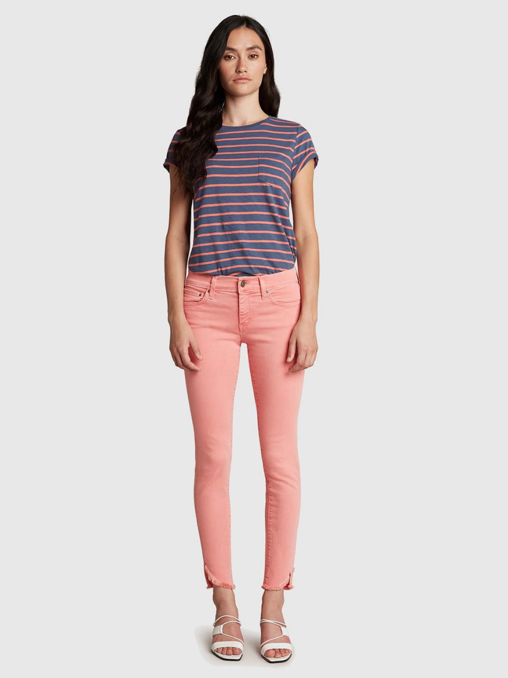 Dreamer Mid Rise Skinny Ankle - Faded Coral