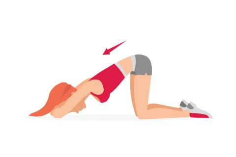 Vector illustration of woman doing a kegel exercise to strengthen her pelvic floor muscles