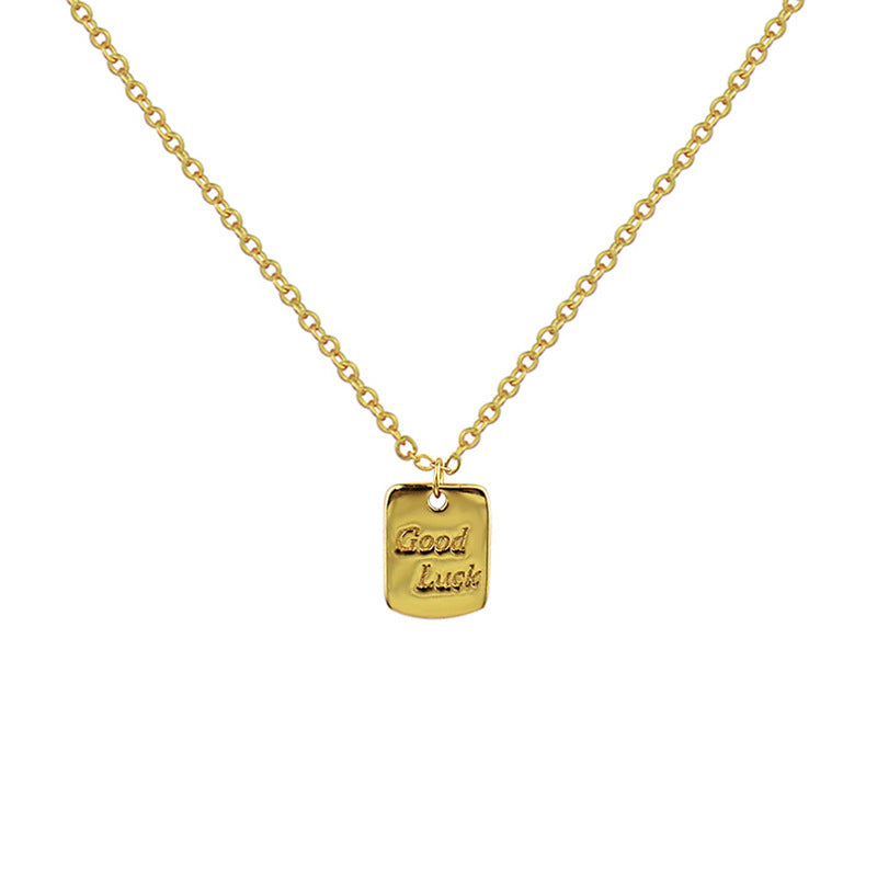 "Luckacco New fashion S925 Sterling Silver Necklace temperament English letter ""good luck"" Necklace - luckacco"
