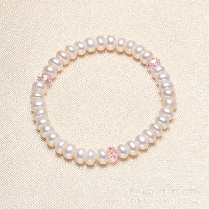 Freshwater pearl 5-7mm bright pearl crystal accessories tendon Bracelet - luckacco