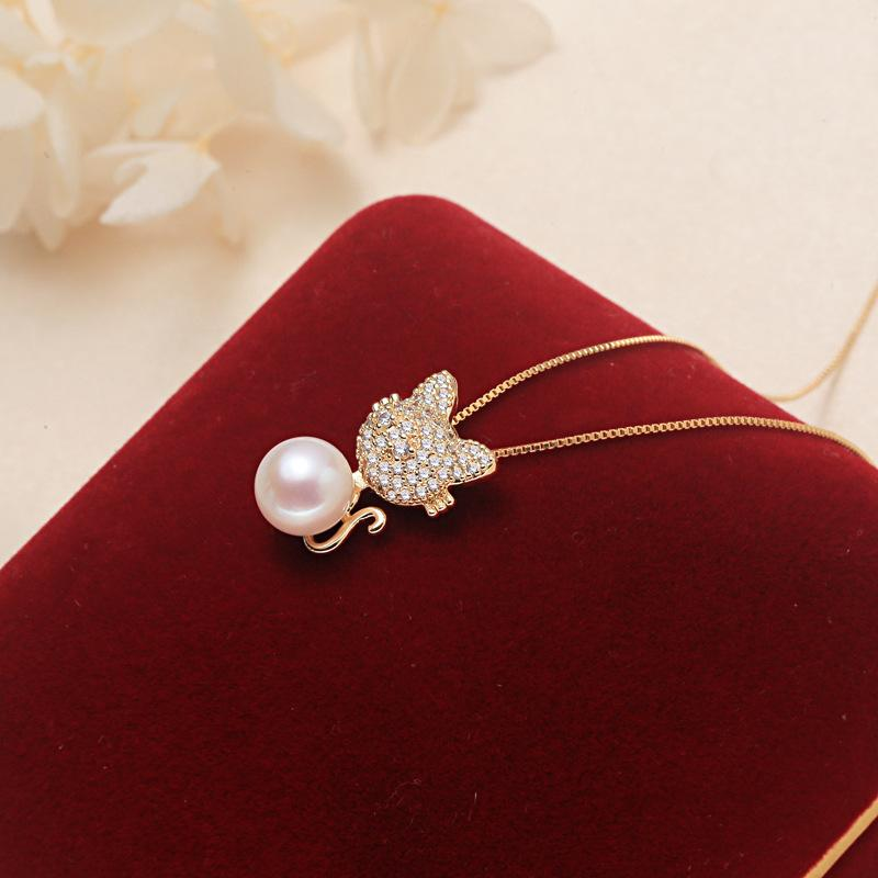 freshwater ak pearl pendant of rabbit S925 pure silver plated pearl necklace plus with 18K gold chain - luckacco