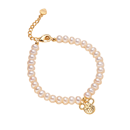 Pearl bracelet hand chain with Chinese letter - luckacco